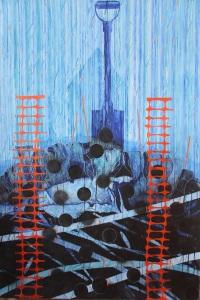 Under a cobalt sky, 102 x 152 cm, Watercolour, Rubber Latex and Carbon Monoxide on Waterford Cotton paper